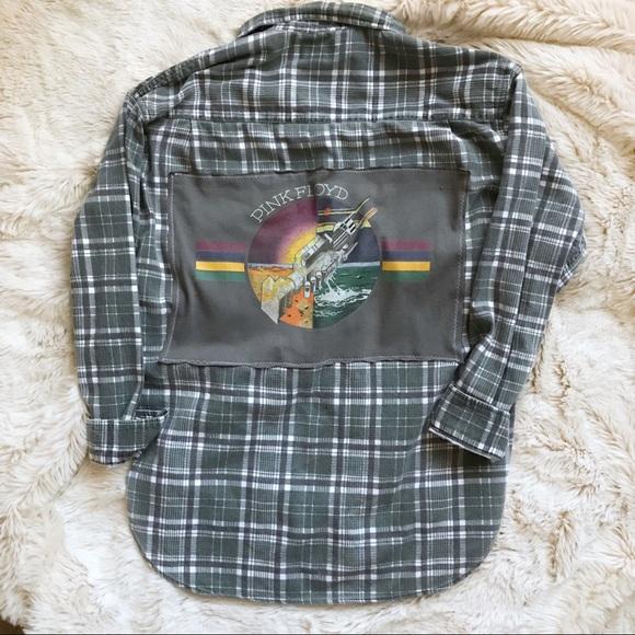 handmade Tops - Handmade Pink Floyd Patch Flannel